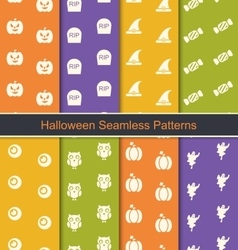Set Seamless Abstract Patterns with Halloween vector image vector image