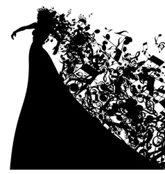 Silhouette of opera singer and musical symbols vector