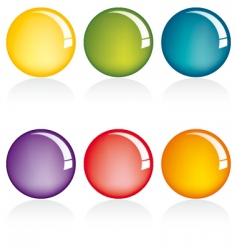 six colors web button set vector image