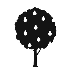 Tree with pears black simple icon vector