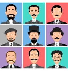 Vintage gentleman portrait set vector image