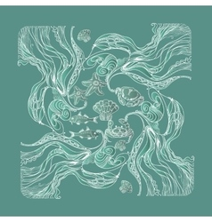 vintage marine pattern on aquamarine vector image