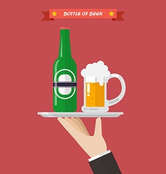 Waiter serving a bottle and glass of beer vector image