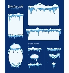 Winter sale stickers tags and banners with vector image vector image
