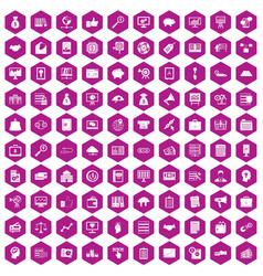 100 business process icons hexagon violet vector