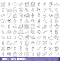 100 story icons set outline style vector