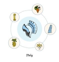 Famous italian symbols doodle concept vector