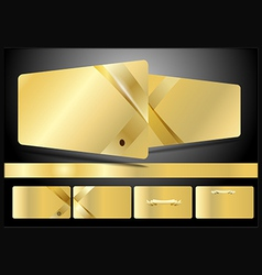 Gold business cards set vector
