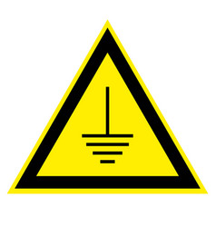 Triangular sign grounding electrical equipment vector