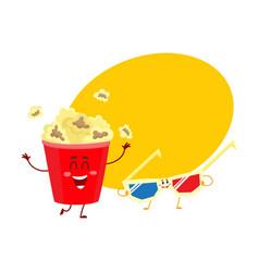 cinema popcorn and 3d stereoscopic glasses vector image