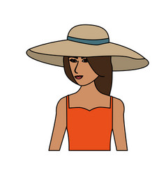 color image cartoon half body woman with beach hat vector image
