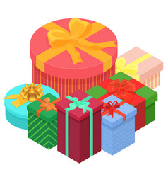 Bright colorful present and gift boxes with vector