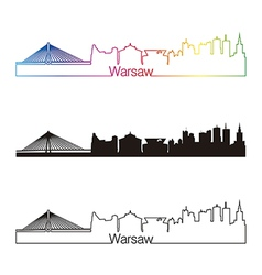 Warsaw skyline linear style with rainbow vector image
