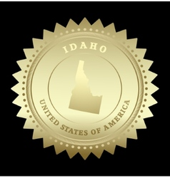 Gold star label idaho vector