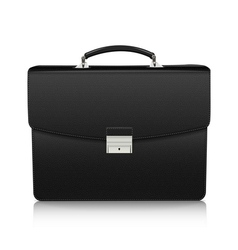 Detailed black briefcase with leather texture vector