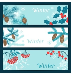 Merry Christmas banners with stylized winter vector image