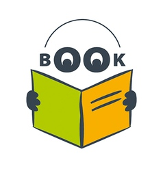 Logo character with headphones reading a book vector