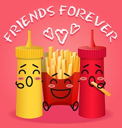 Fried potatoes and ketchup and mustard cartoon vector