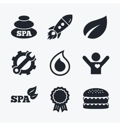 Spa stones icons water drop with leaf symbols vector