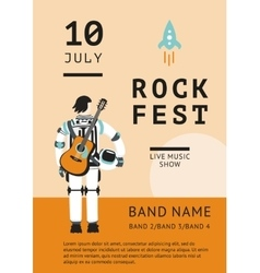 Rock festival poster with an astronaut vector