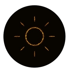 Brightness icon silhouette of gold lights vector