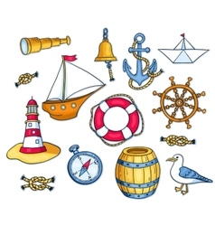 Set of sea objects vector