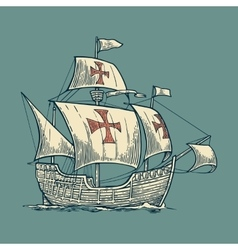 Sailing ship floating on the sea waves vector