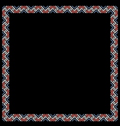 Geometric color ethnic frame on black vector image