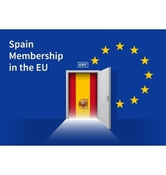 European union flag wall with spain flag door eu vector