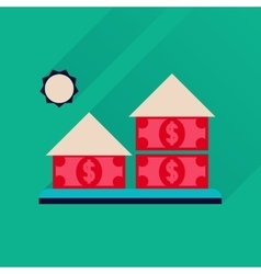 Flat icon with long shadow money house vector