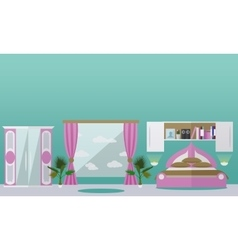 Bedroom interior in flat style vector