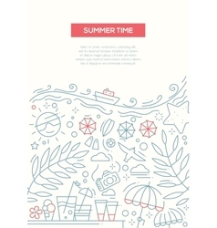 Summer time - line design brochure poster template vector