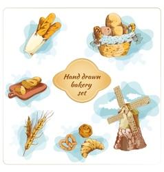 Bakery hand drawn decorative elements set vector image vector image