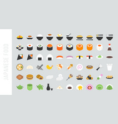 big set of japanese food and beverage flat icon vector image vector image
