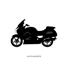Black silhouette of a police motorcycle vector image vector image