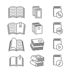 Book line thin icons set vector image vector image