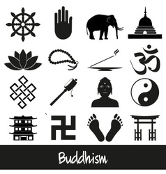 Buddhism religions symbols set of icons eps10 vector