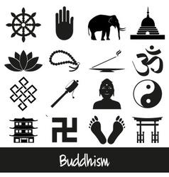 Buddhism religions symbols set of icons eps10 vector