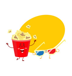 Cinema popcorn and 3d stereoscopic glasses vector
