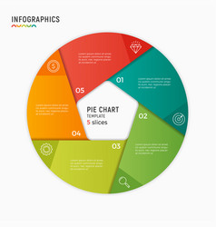 circle chart infographic template 5 vector image