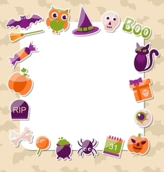 Clean card with colorful halloween flat icons vector