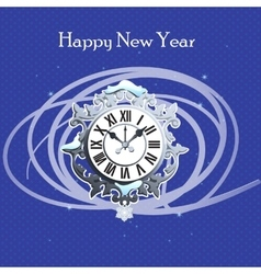 Clock with snow and abstraction lines vector image vector image