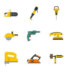 construction electric tool icon set flat style vector image