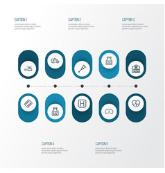 Drug outline icons set collection of pills vector
