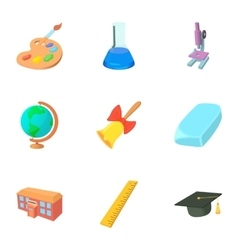 Education icons set cartoon style vector image vector image