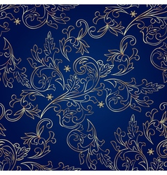 Floral vintage seamless pattern on blue background vector image vector image
