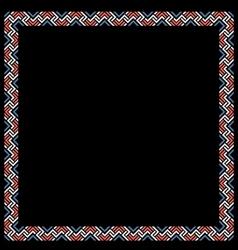 Geometric color ethnic frame on black vector