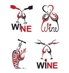 glasses with wine vector image vector image