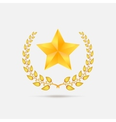 Golden laurel wreath with star vector image vector image