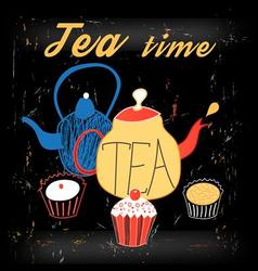 Graphic of teapots and cakes vector